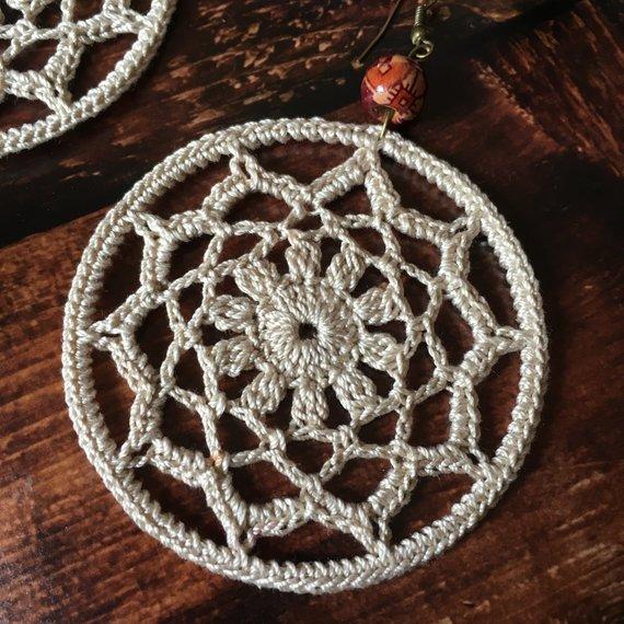 89. ONE Crochet Earrings Pattern, Crochet Earring Pattern, PDF File - Crochet hoop earrings - PDF pattern for advanced crocheters #crochetedearrings
