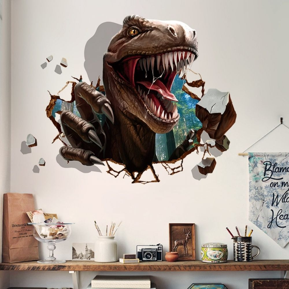 Large N039 T-Rex Dinosaur Jurassic Cool Smashed Wall Decal 3D Art Stickers Vinyl Room 92x52