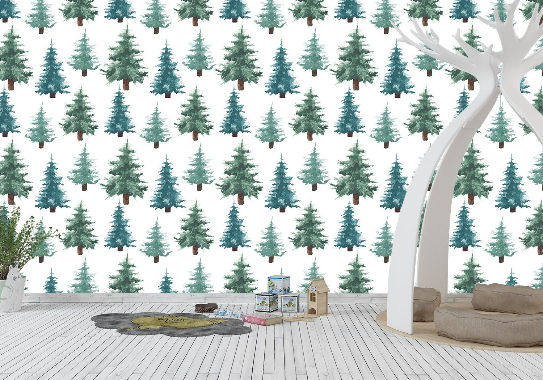 Removable Peel And Stick Wallpaper Forest Fir Pine Trees Etsy Tree Wallpaper Vinyl Wallpaper Wallpaper