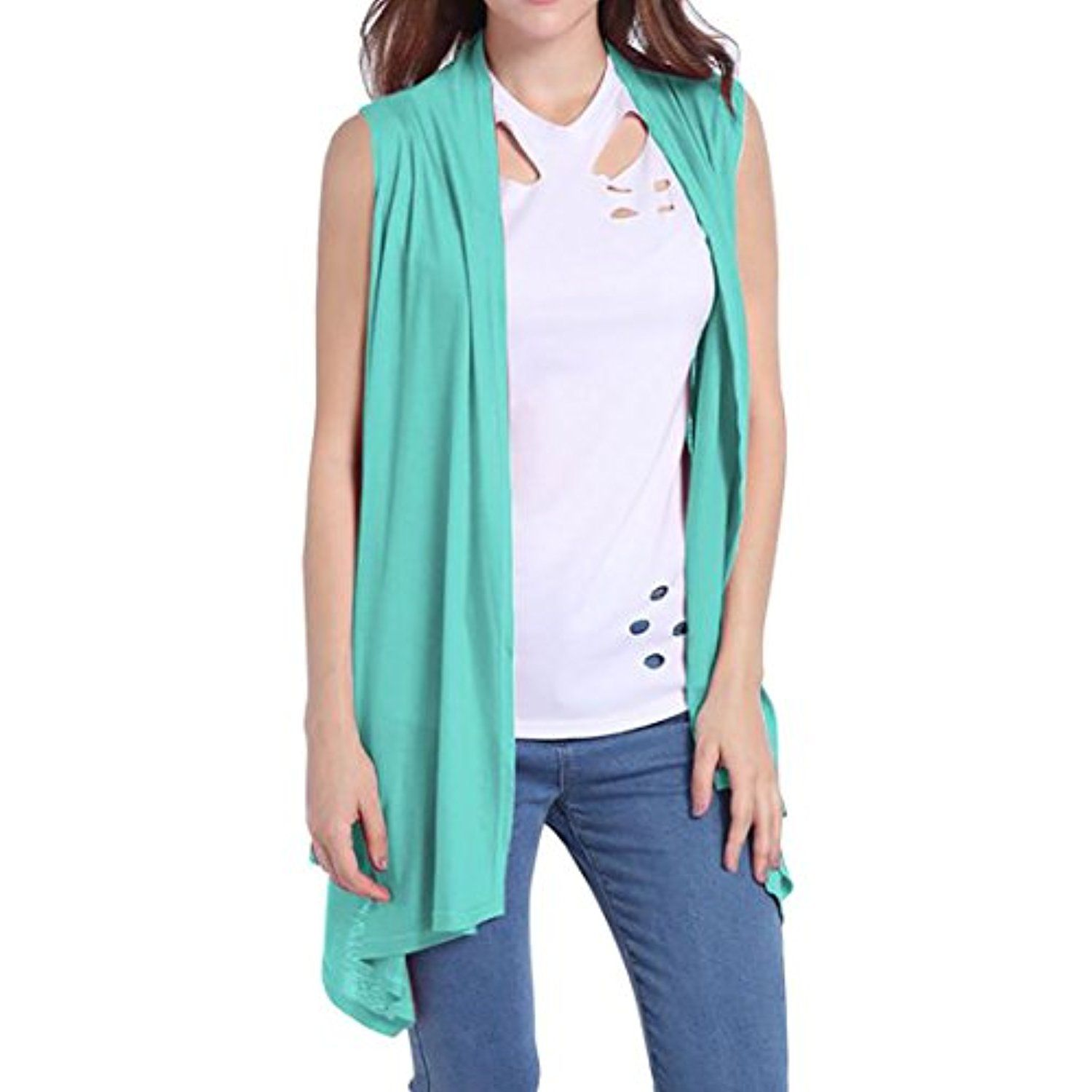 Women's Solid Draped Open Front Sleeveless Cardigan Vest ** Read ...