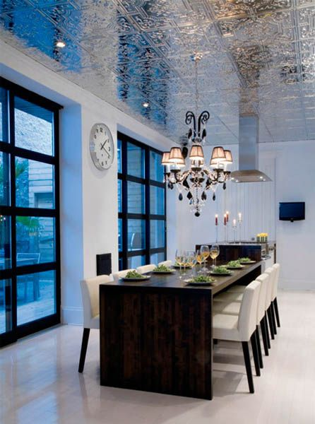 Love The Table And Chairs Chandelier Makes It Very Cozy Shiny Ceiling Makes It Feel Even Bigger Modern Dining Room Dining Room Design Home
