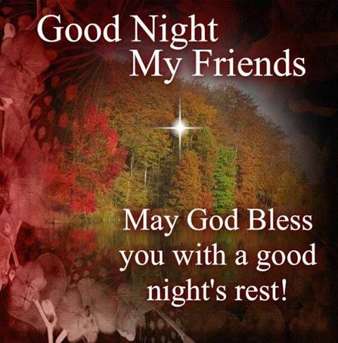 Good night my friends  May God Bless you with a good night's