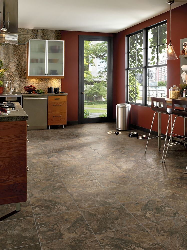 Armstrong Luxury Vinyl Tile Lvt Dark Brown Stone Look Kitchen Dining Inspiration