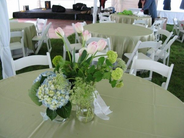 Sage Green Tablecloths With Hydrangeas Wedding Decorations