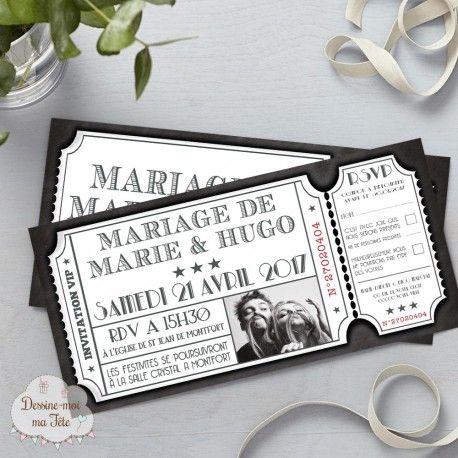 Faire-part de mariage - Ticket de Cinéma