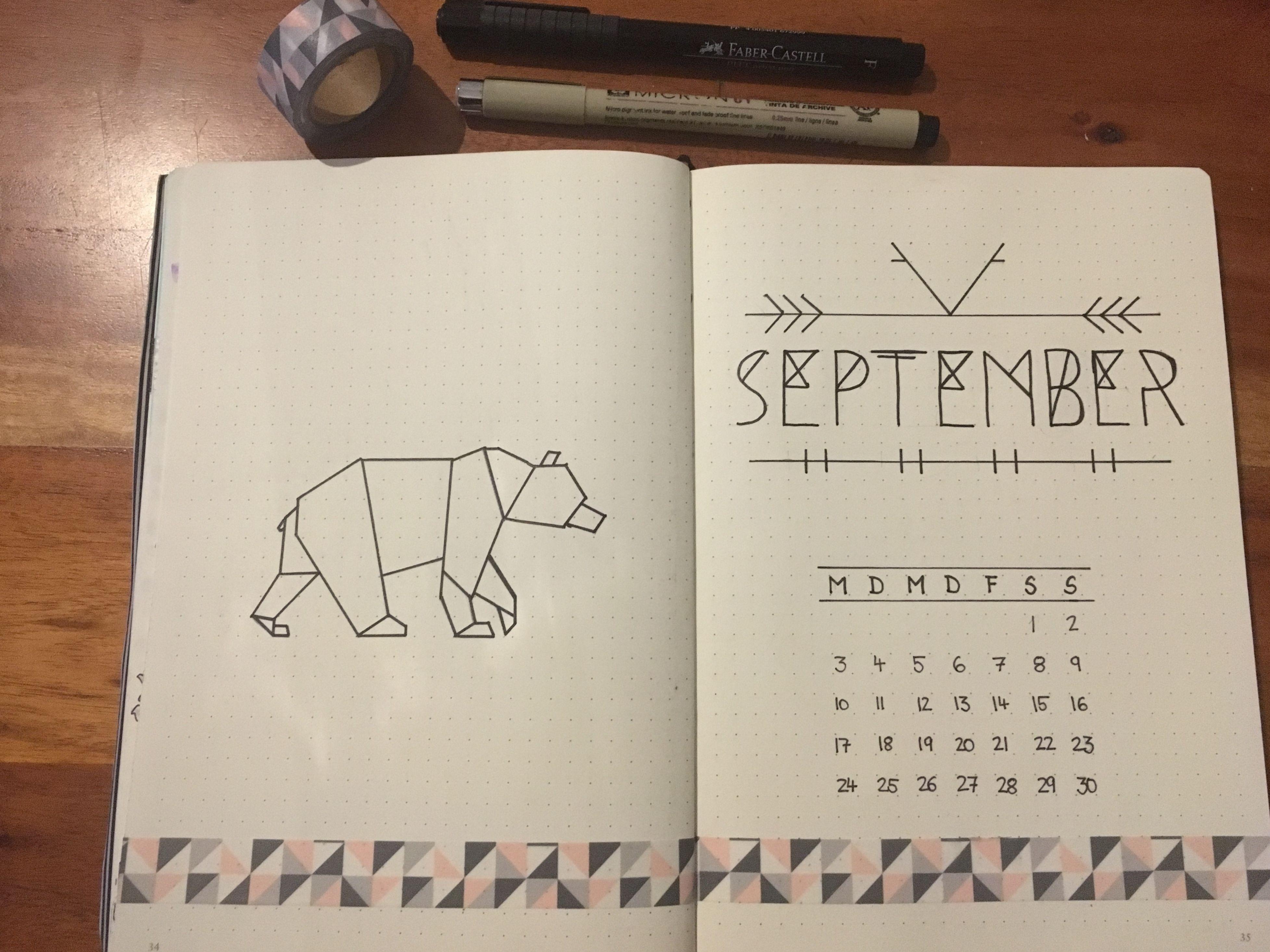 BuJo Bullet Journal monthly Cover Deckblatt september Bear icon Origami based on Pinterest ideas #septemberbulletjournalcover
