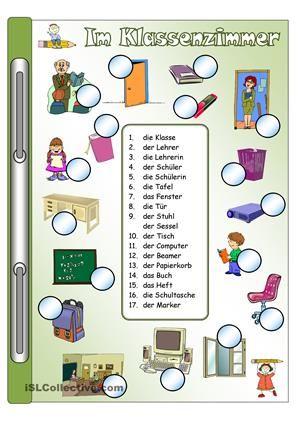 Arbeitsblatt: Bild-Wort-ZuordnungWortschatz: Im KlassenzimmerKann ...