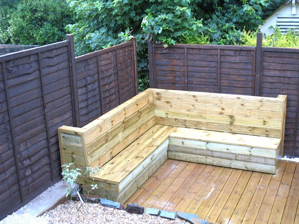 Corner bench from decking garden ideas pinterest trees cornwall and the o 39 jays - Corner pond ideas ...