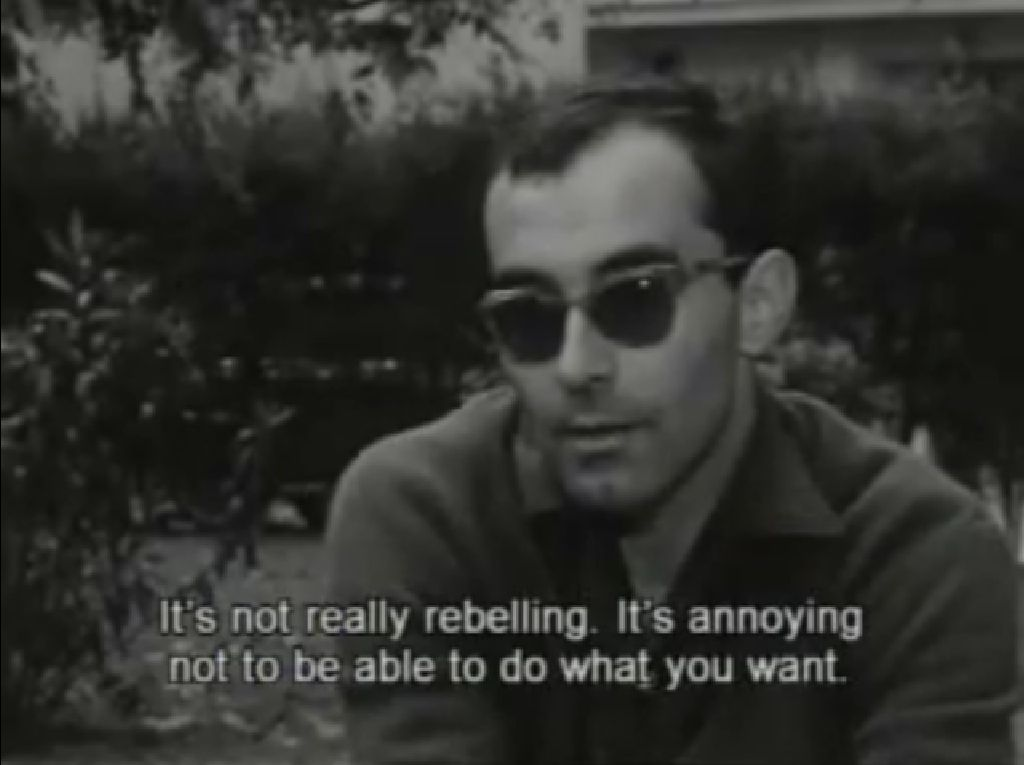 """Free Thought Quotes From Movies: Says Goddard At Cannes. YouTube """"Jean-Luc Godard 1960"""