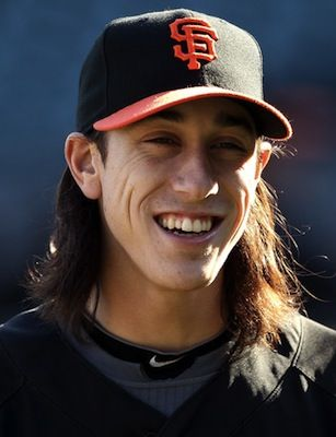 Tim Lincecum With Long Hair And A Smile Workout Session Workout San Francisco Giants
