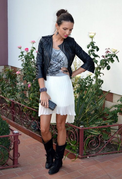 Black Jacket | Grey Graphic Tee | White Pleated High-Low Skirt | Black Boots