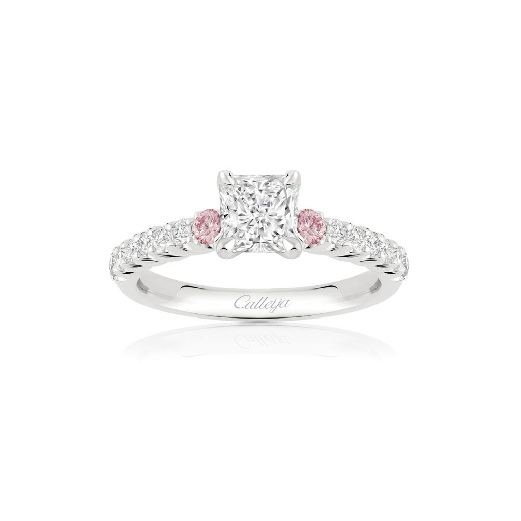 c4b840965df75 White Radiant Cut and Argyle Pink Diamond Ring | Bling in 2019 ...