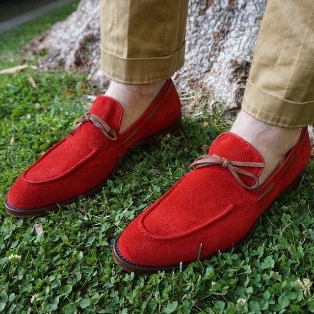 Bright red suede men's loafers. These babies are SOOOO AMAZING ...
