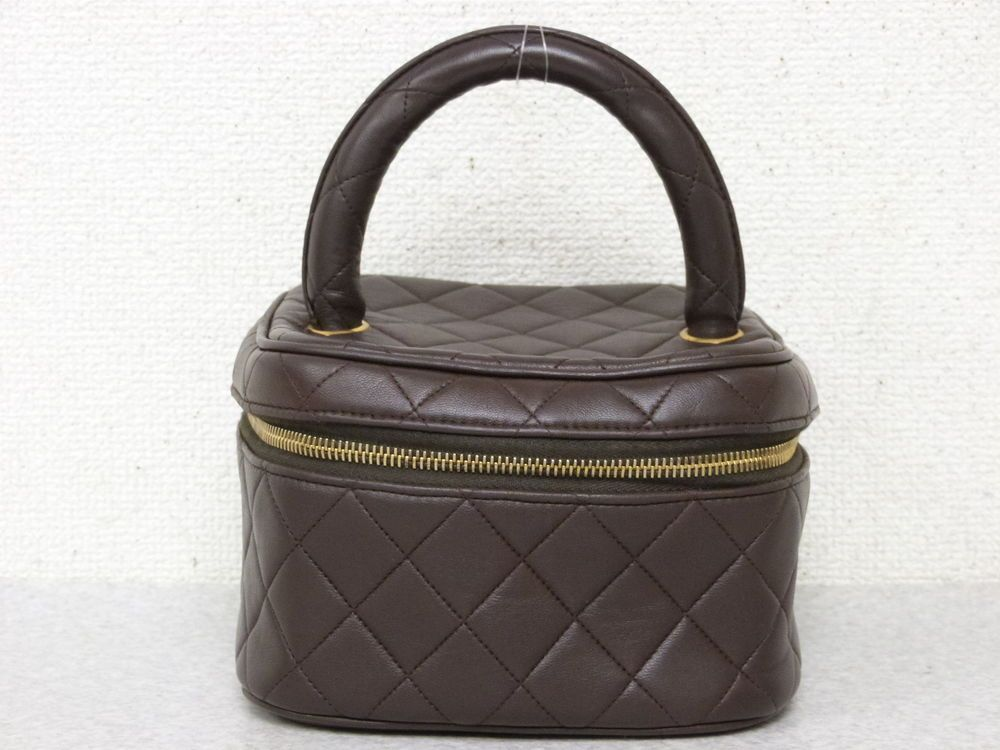 efae9962705f0d rk4800 Auth CHANEL Brown Quilted Lambskin CC Charm Cosmetic Vanity Hand Bag  #fashion #clothing