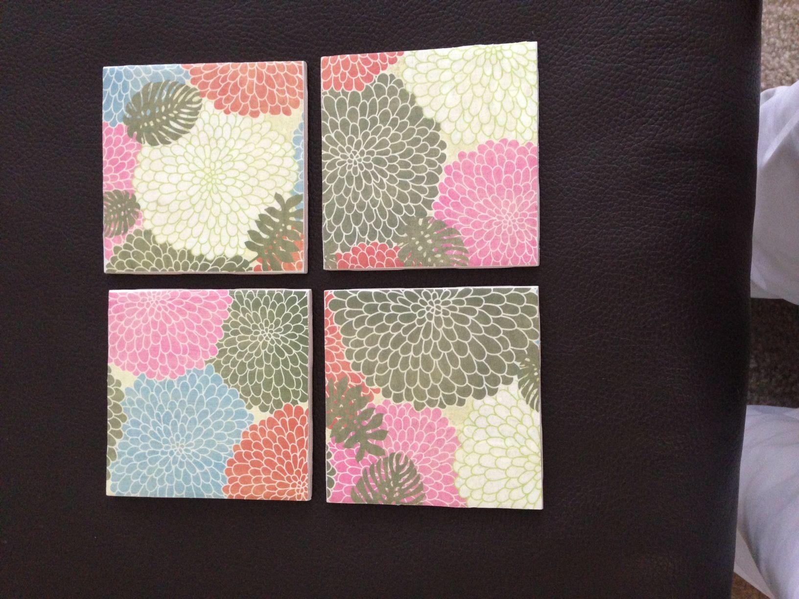 Tea Coasters Ceramic Tile Scrap Paper Modpodge Clear Acrylic - Ceramic tile scraps