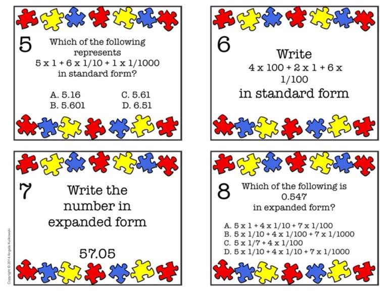 Expanded Form Task Cards 5th Grade Common Core Common Cores Math