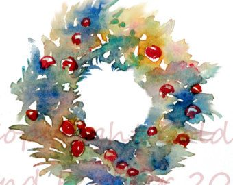 Holiday Wreath Graphic Painted In Watercolour Vintage Style