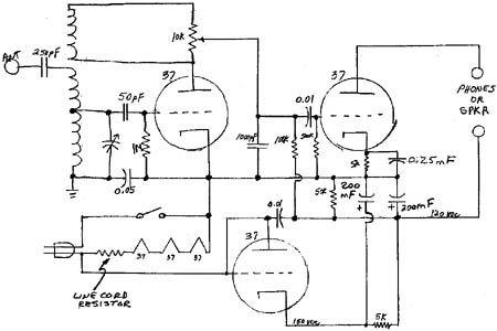 schematic diagram for the 3-tube regenerative radio