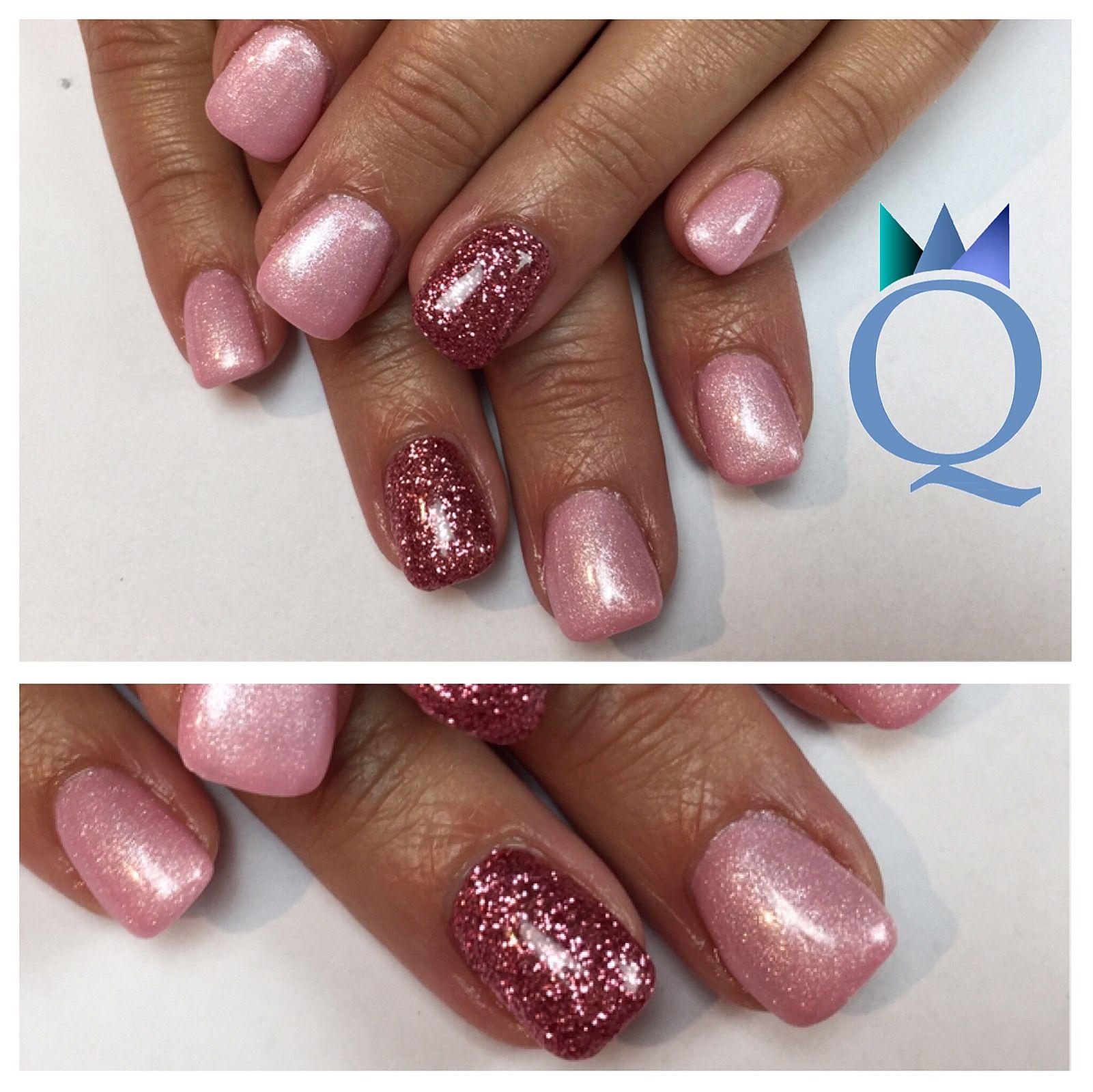 Shortnails Gelnails Nails Rose Pink Glitter Kurzenagel