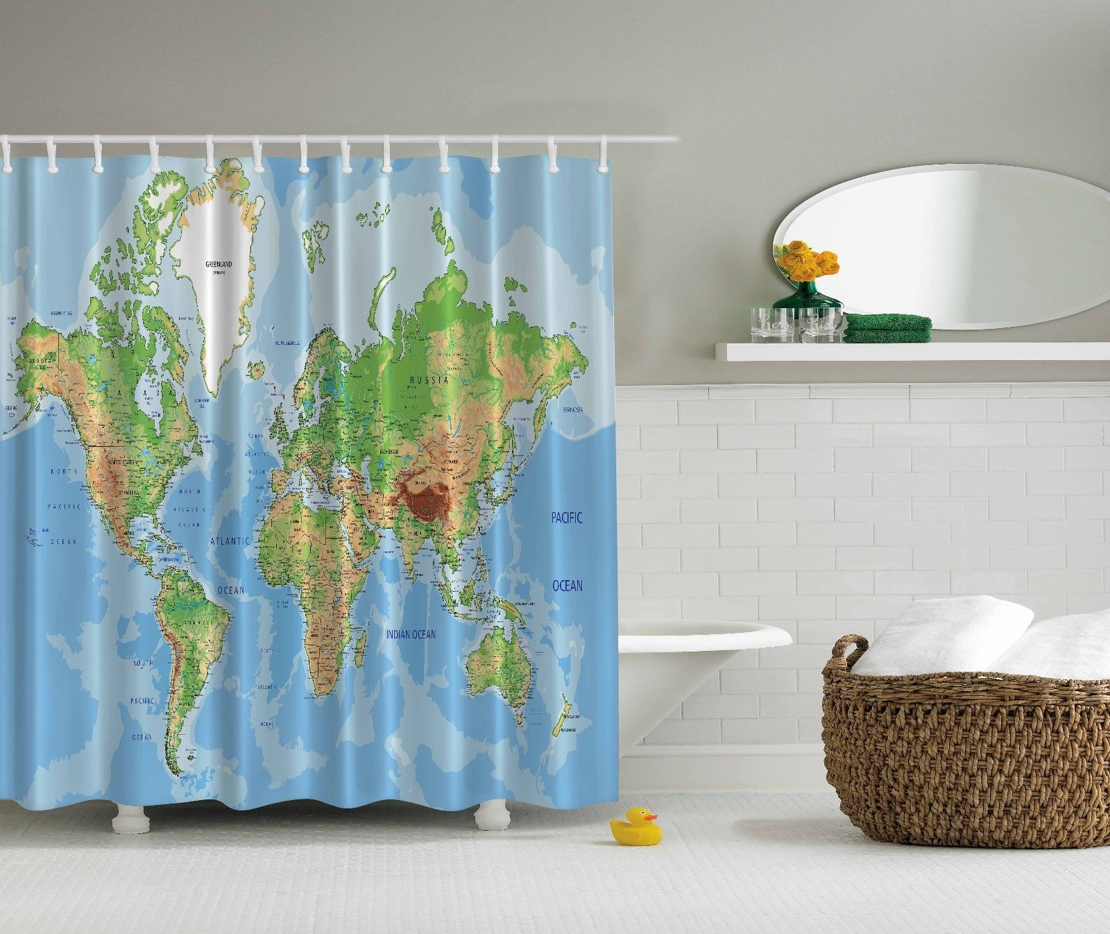 World Map Globe Educational Geographical Shower Curtain Extra Long 84 Inch Tessuti