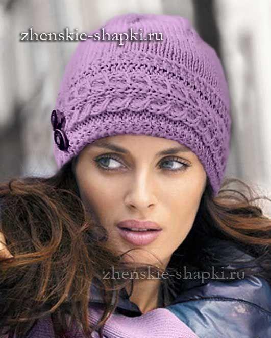 Женская вязаная шапка спицами | вязание | Вязаные шапки ...