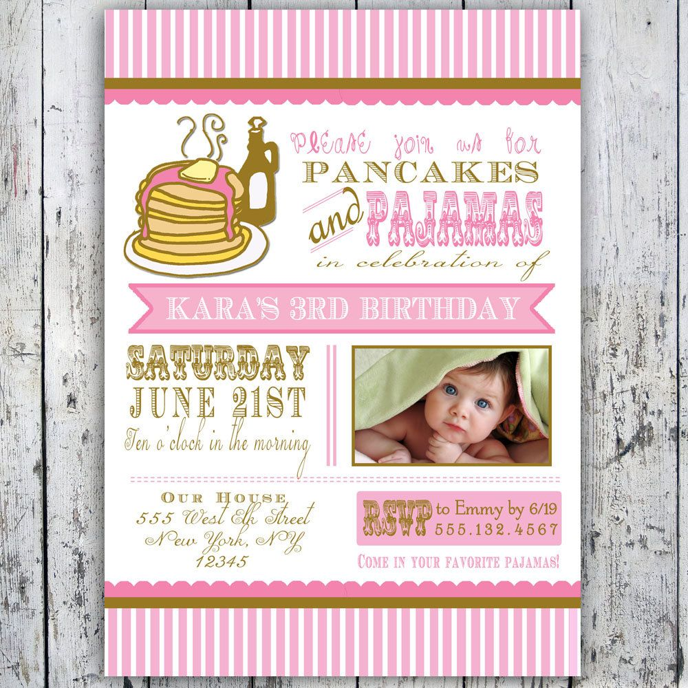 Pancakes and Pajamas Party Invitation Photo Card Printable – Pajama Party Invites