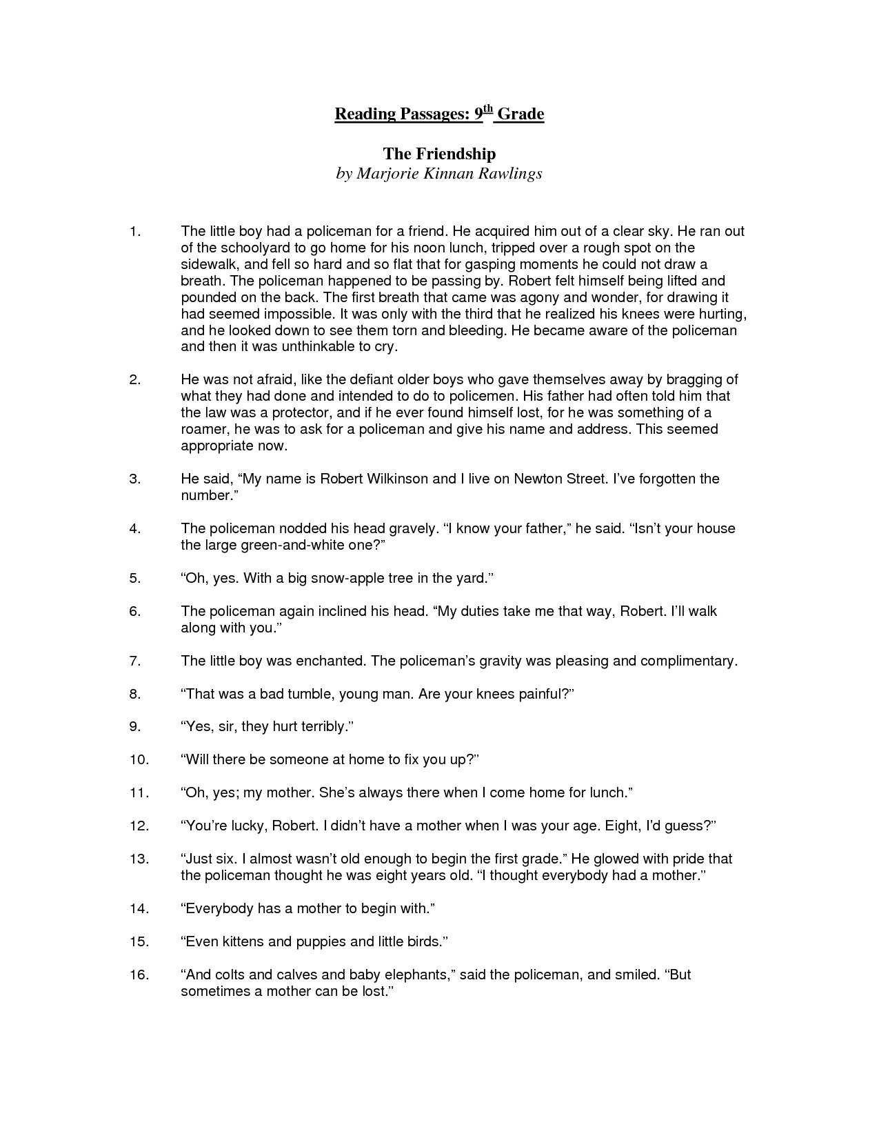 hight resolution of 9th Grade Reading Comprehension Worksheets in 2020   Comprehension  worksheets