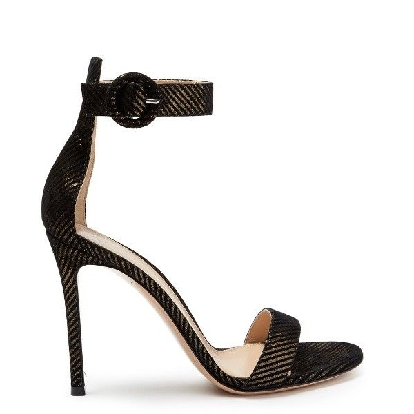 Gianvito Rossi Portofino striped suede sandals ($815) ❤ liked on Polyvore featuring shoes, sandals, gold multi, suede shoes, gianvito rossi shoes, high heel stilettos, black and gold sandals and evening shoes