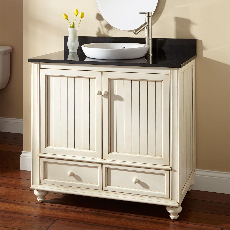"36"" Schaefer Creamy White Vanity for Semi-Recessed Sink"