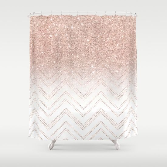 A Modern Girly And Chic Pattern With Faux Rose Gold Glitter Ombre Geometric Shower CurtainUnique