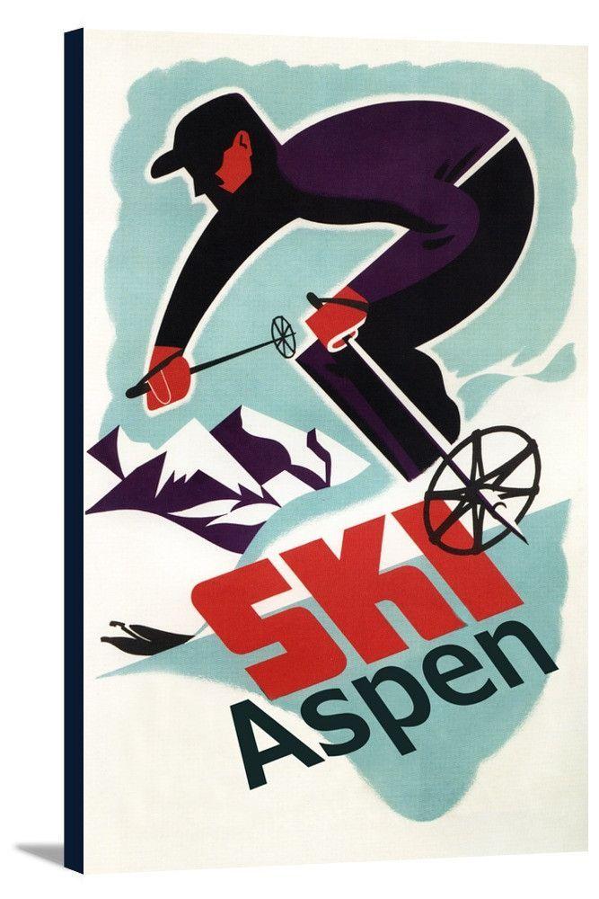 Aspen, Colorado - Ski in Colorado Vintage Skier - Lantern Press Artwork