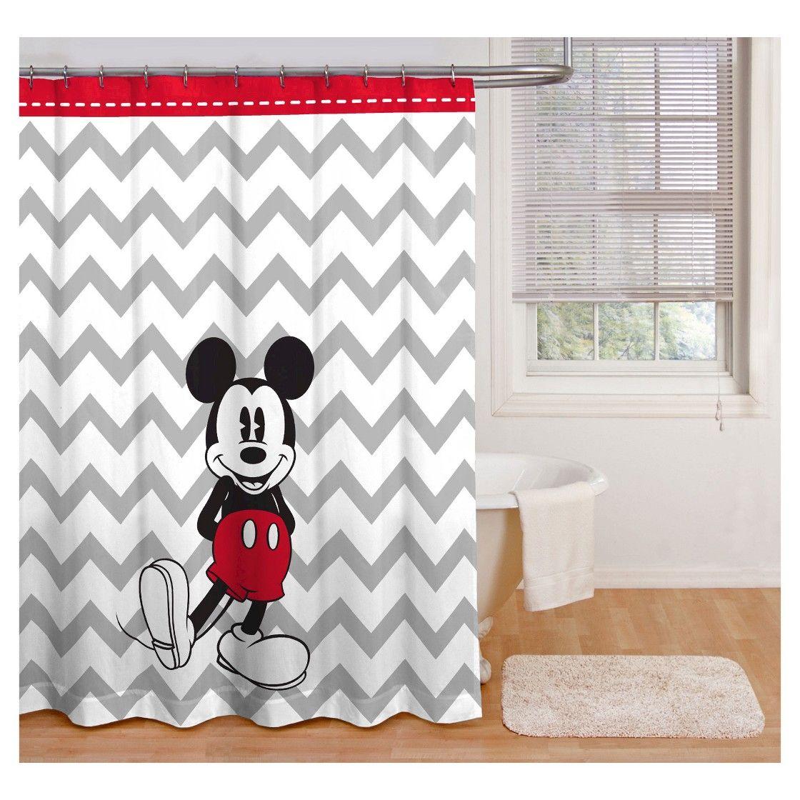 Disney Mickey Mouse Chevron Shower Curtain Gray White Mickey