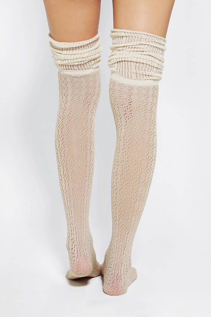 f0d576c17bc Urban Outfitters - Pointelle Scrunch Over-The-Knee Sock