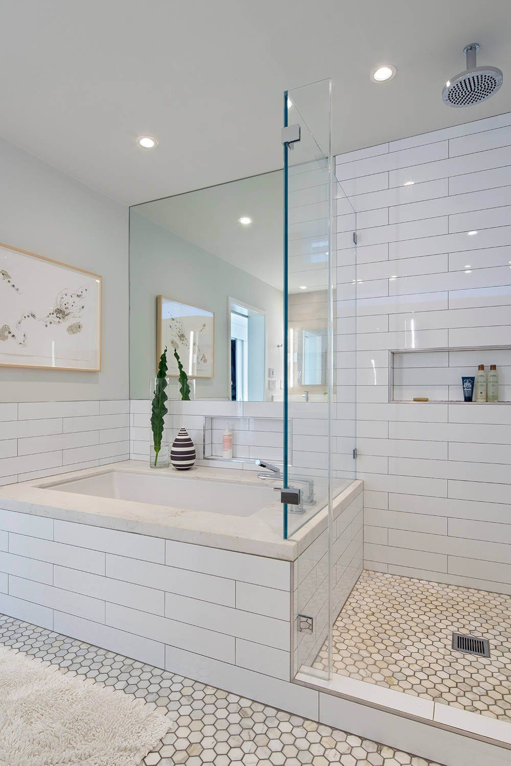 House in berkeley hills by yamamar design modern bath oversized subway tile marble hexagonal Marble hex tile bathroom floor