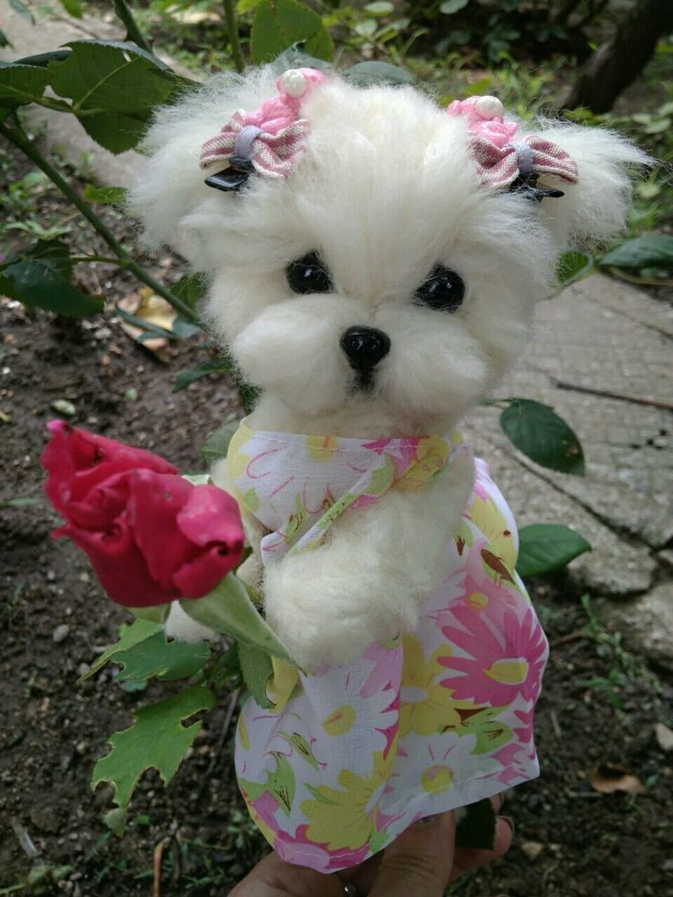 Ooak Needle Felted Maltese Puppy Dog Dog Purse Dolls Bears
