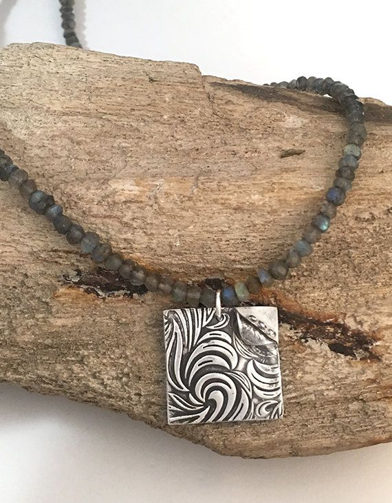Vintage Feel Silver Square Pendant by AriesArtisticJewelry on Etsy