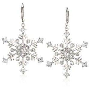 T W Cz Snowflake Earrings In Sterling Silver 1 7 8