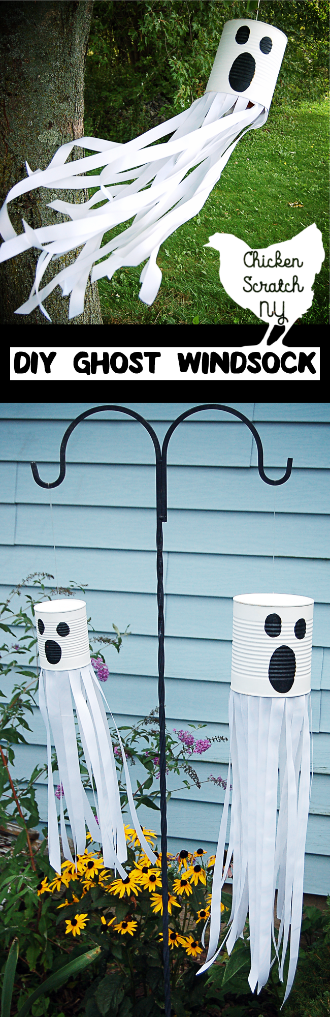 diy tin can ghost windsock scary halloween decorationshalloween kidshalloween