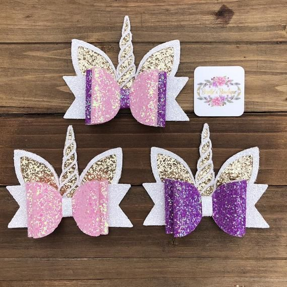 Unicorn Hair Bow - Hair Clip or Headband - Girls/Babies/Toddler Costume and Clothing Dress Up Accessories