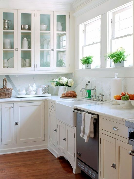 Country Style Kitchen Furniture In Country Style Kitchen With Shaker Cabinets Accented Latch And Cup Pull Hardware Below White Marble Counter Matching Backsplash Glass