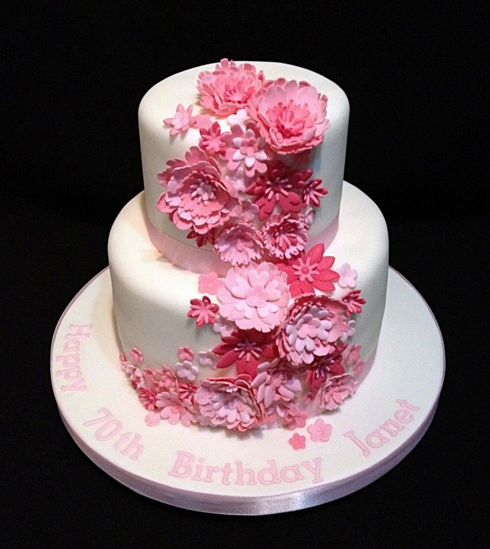 Admirable 2 Tiers Birthday Cake Decoration Idea With Pink Flowers Funny Birthday Cards Online Hetedamsfinfo