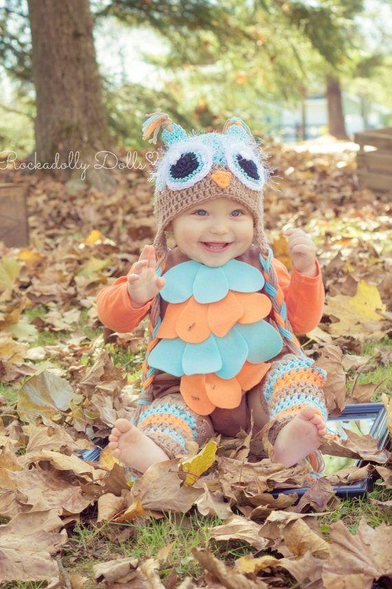crochet owl costume baby infant newborn toddler photo prop photography gift halloween costume