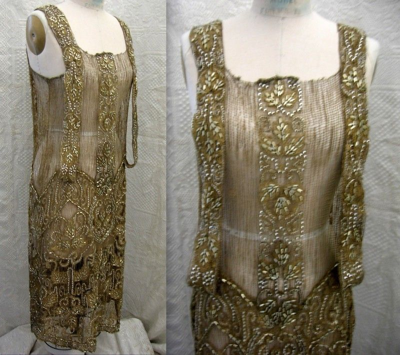 1920s gold beaded evening dress, front view
