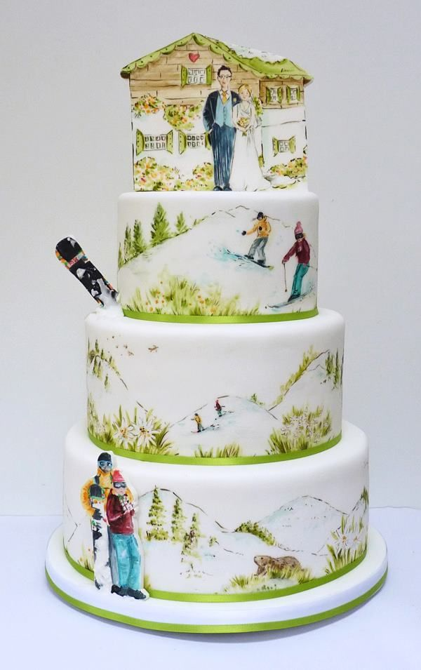 Snowboarder And Skiing Wedding Cake By Nevie Pie Cakes