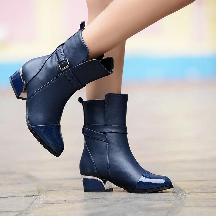 74ae863627e5 Womens buckle strap Faux Leather Pull On Ankle Boots Chunky Heel Round Toe  Shoes  fashion  clothing  shoes  accessories  womensshoes  boots (ebay link)
