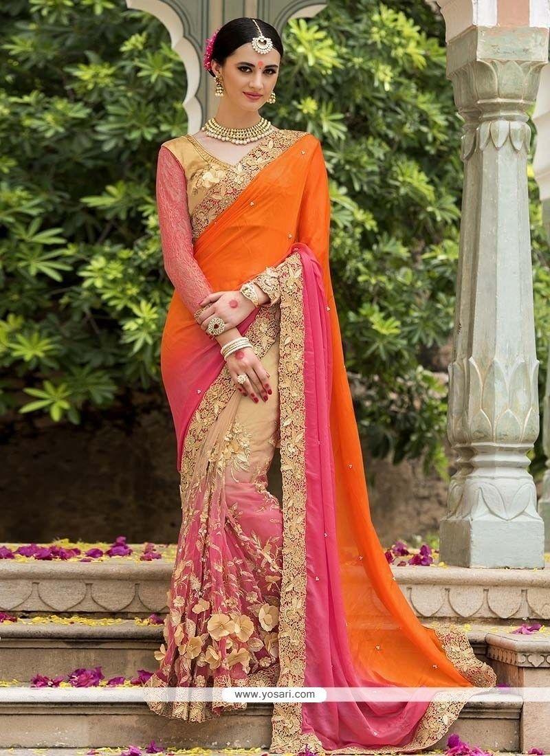 0274621869 Royal Embroidered Work Silk Designer Saree | Orangedresses | Saree ...