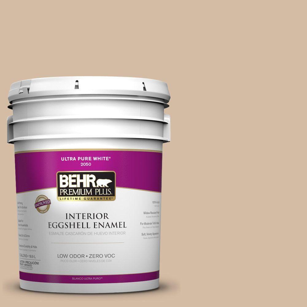 BEHR Premium Plus 5-gal. #pwl-86 Nutty Beige Zero VOC Eggshell Enamel Interior Paint