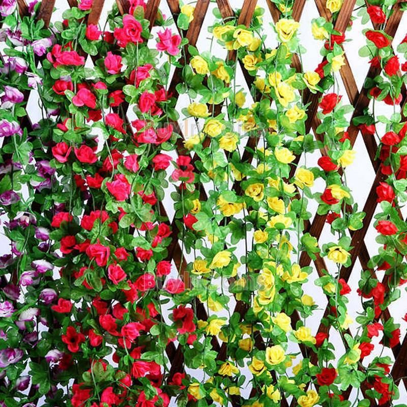 Artificial rose bud garland silk flower vine for home wedding garden artificial rose bud garland silk flower vine for home wedding garden decoration buyincoins mightylinksfo Image collections