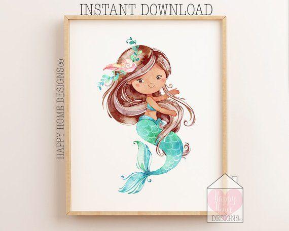 Mermaid Print, Mermaid Wall Art, Mermaid Nursery Decor, Girls Bedroom Wall Art, Mermaid Printable, Mermaid Sign, Mermaid Poster, Girls Print #mermaidsign