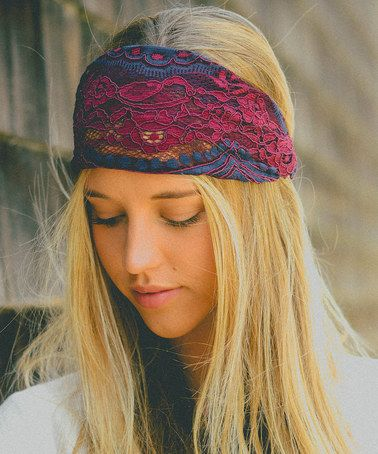 Look at this #zulilyfind! Burgundy & Navy Lace Headband by Leto Collection #zulilyfinds